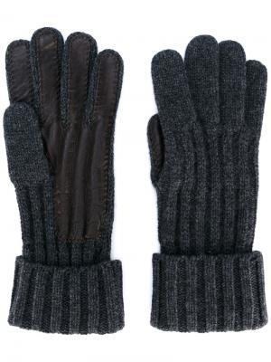 Перчатки с кожаными деталями Brioni. Цвет: коричневый