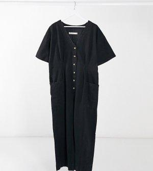 Черный джинсовый комбинезон ASOS DESIGN Curve-Черный цвет Curve