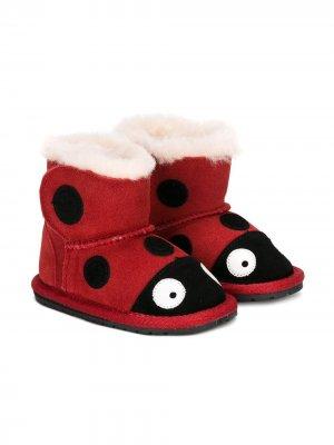 Ботинки в виде божьей коровки Emu Kids. Цвет: красный