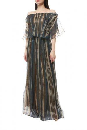Платье Brunello Cucinelli. Цвет: синий, коричневый, бежевый