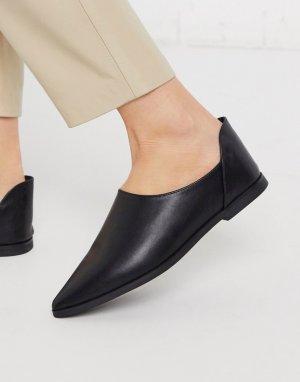 Туфли на плоской подошве с низким вырезом -Черный Ichi
