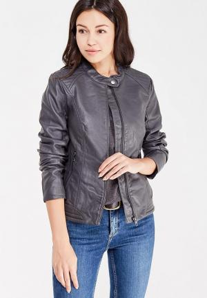 Куртка кожаная Jacqueline de Yong. Цвет: серый