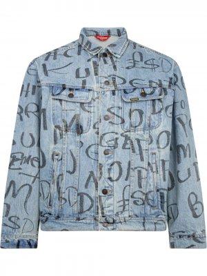 Куртка Ark с принтом Supreme. Цвет: синий