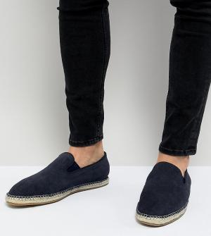 Темно-синие замшевые эспадрильи-слипоны для широкой стопы Frank Wright. Цвет: темно-синий