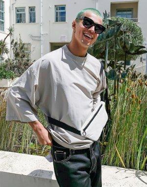 Бежевая футболка oversized с сумкой ASOS DESIGN-Бежевый