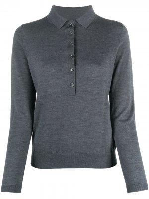 Рубашка поло с длинными рукавами Allude. Цвет: серый