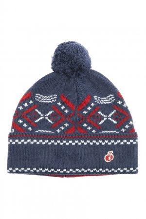 Синяя шапка из шерсти с узором Bosco. Цвет: синий