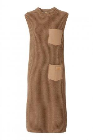 Светло-коричневое кашемировое платье Burberry. Цвет: коричневый