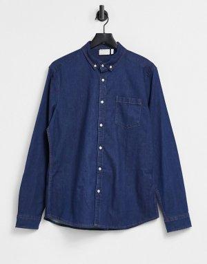 Джинсовая зауженная рубашка цвета индиго из органического хлопка -Голубой ASOS DESIGN