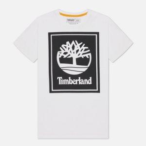 Мужская футболка Stack Logo Timberland. Цвет: белый
