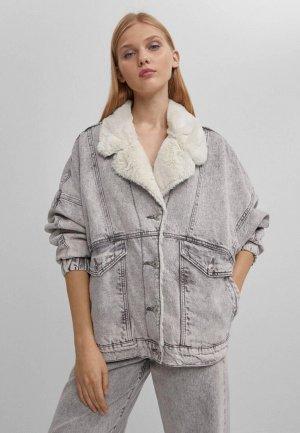 Куртка джинсовая Bershka. Цвет: серый