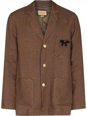 Клетчатый пиджак с логотипом GG Gucci. Цвет: коричневый