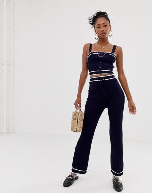 Комбинируемые широкие трикотажные брюки Emory Park. Цвет: темно-синий