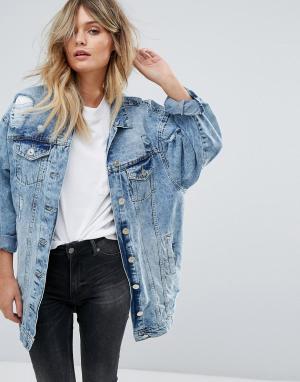Удлиненная джинсовая куртка Parisian. Цвет: синий