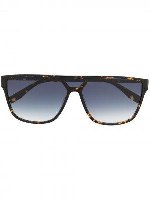 Солнцезащитные очки в квадратной оправе черепаховой расцветки Lacoste. Цвет: черный