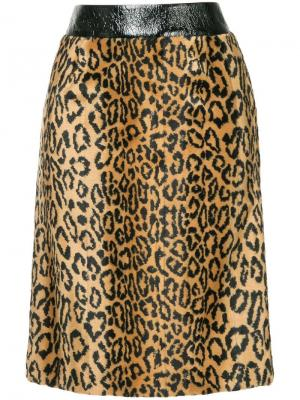 Меховая юбка с леопардовым принтом We11done. Цвет: коричневый