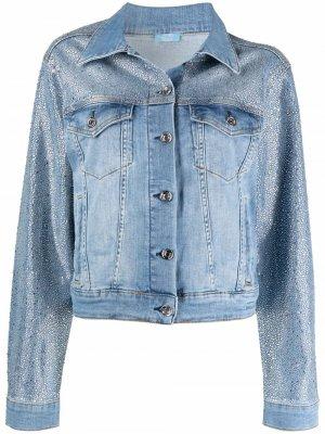 Джинсовая куртка с пайетками LIU JO. Цвет: синий