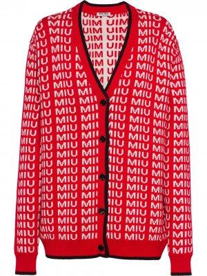 Кардиган с логотипом Miu. Цвет: красный
