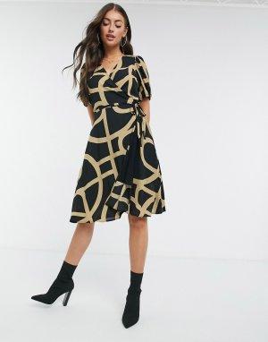 Черное платье с запахом и принтом Leyla-Черный Just Female