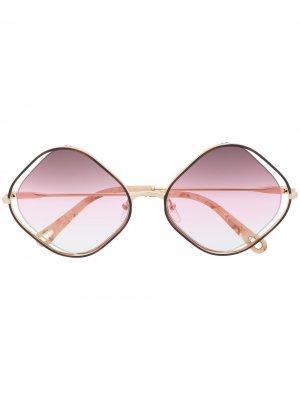 Солнцезащитные очки в квадратной оправе Chloé Eyewear. Цвет: коричневый