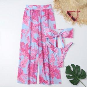 3шт бикини с узлом и пляжные брюки тропическим принтом SHEIN. Цвет: многоцветный