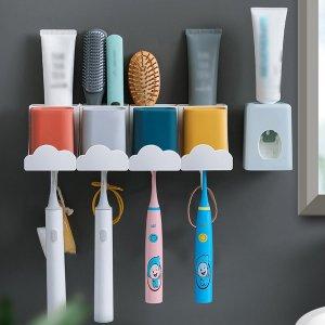 1шт Стеллаж для храненияи чашка полоскания 4шт и соковыжималка зубной пасты SHEIN. Цвет: многоцветный