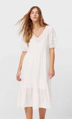 Длинное Платье С Вышивкой Цвет Небеленого Полотна Xl Stradivarius. Цвет: цвет небеленого полотна