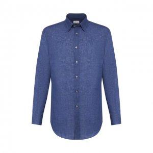 Льняная сорочка Brioni. Цвет: синий