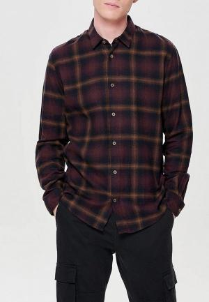 Рубашка Only & Sons. Цвет: бордовый