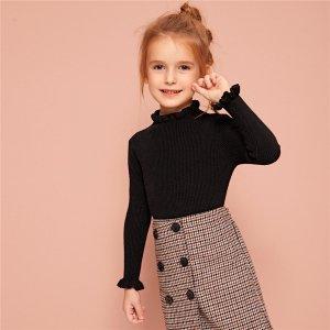 Вязаный свитер со складкой для девочек SHEIN. Цвет: чёрный