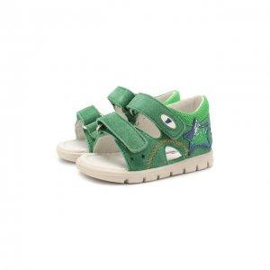 Кожаные сандалии Falcotto. Цвет: зелёный