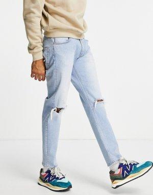 Суженные книзу эластичные джинсы выбеленного светло-голубого цвета в винтажном стиле со рваными коленями -Голубой ASOS DESIGN