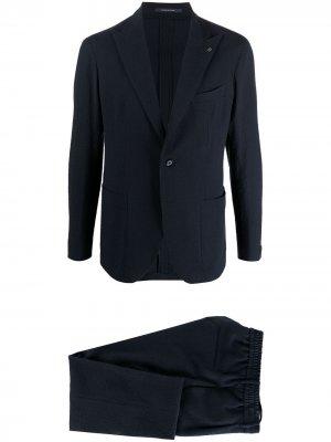 Костюм-двойка с однобортным пиджаком Tagliatore. Цвет: синий
