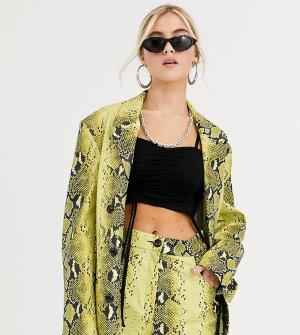 Полиуретановый oversize-пиджак со змеиным рисунком COLLUSION Unisex