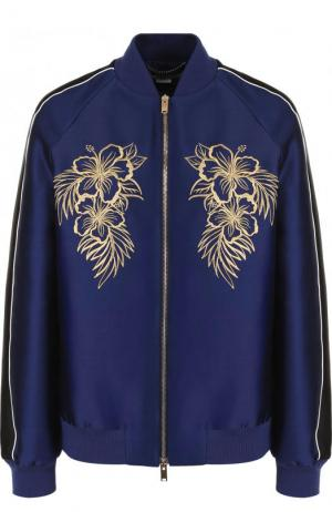 Бомбер свободного кроя на молнии с контрастной вышивкой Stella McCartney. Цвет: темно-синий