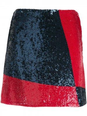 Мини-юбка с пайетками Polo Ralph Lauren. Цвет: синий