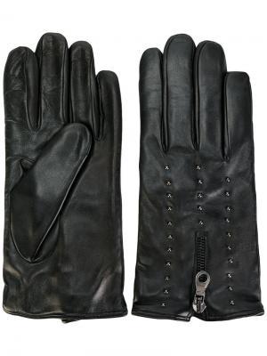 Перчатки на молнии с заклепками Eleventy. Цвет: чёрный