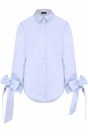 Хлопковая блуза свободного кроя с бантами на рукавах Clu. Цвет: синий
