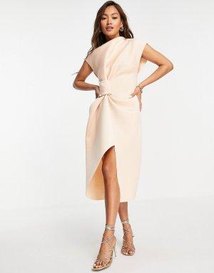 Бежевое платье-футляр миди с высоким воротником и складками -Светло-бежевый цвет ASOS DESIGN