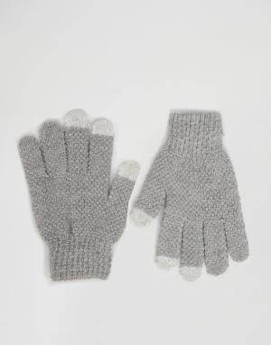Серые фактурные перчатки для использования с сенсорным экраном 7X. Цвет: серый