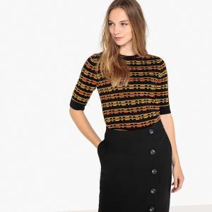 Пуловер с круглым вырезом и короткими рукавами LA REDOUTE COLLECTIONS. Цвет: черный