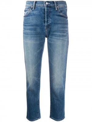 Прямые джинсы с эффектом потертости Mother. Цвет: синий