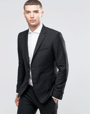 Пиджак зауженного кроя с принтом треугольников Sisley. Цвет: черный