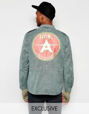 Джинсовая куртка с принтом на спине Swiss Army Reclaimed Vintage. Цвет: зеленый