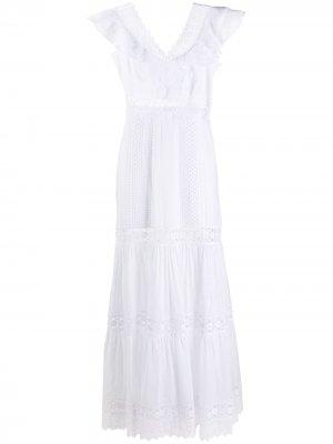 Длинное кружевное платье Aida Charo Ruiz Ibiza. Цвет: белый
