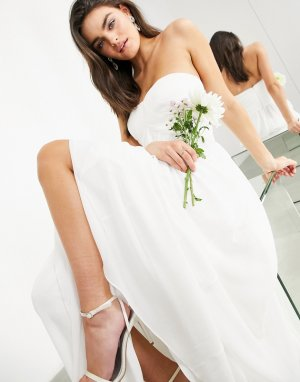 Свадебное платье-бандо со складками Lyra-Белый ASOS EDITION