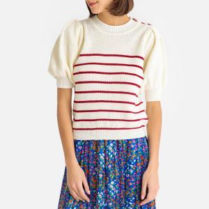 Пуловер с воротником-стойкой из тонкого трикотажа NELLIE BA&SH. Цвет: экрю/ красный