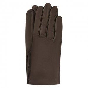 Кожаные перчатки с подкладкой из шелка Agnelle. Цвет: коричневый