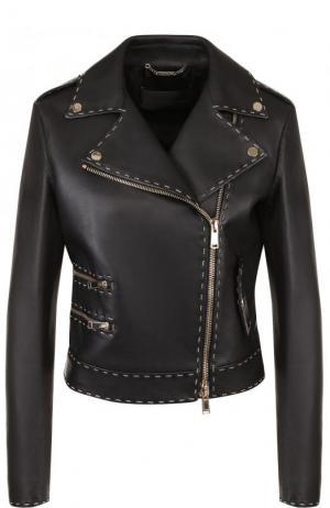 Кожаная куртка с косой молнией и контрастной прострочкой Versace. Цвет: черный