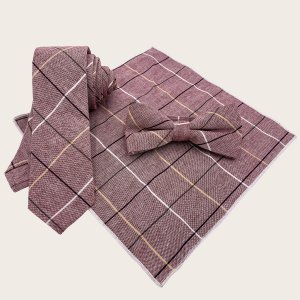 Мужской комплект галстука в клетку 3шт SHEIN. Цвет: коричневые